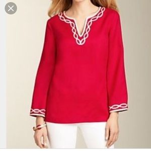Talbots Red White Linen Tunic Top Med $70